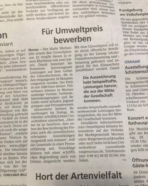 Wiesendanger medien Druckerei Umweltpreis bewerben Zeitung