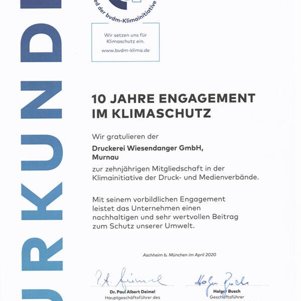 Urkunde 10 Jahre Klimaschutz_Wiesendanger medien Druckerei Murnau